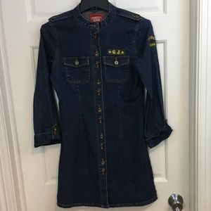 GUESS JEANS Girls Long Sleeve XL16 Denim Dress